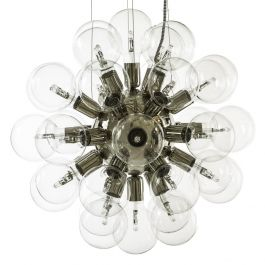 Modern Glass Chandelier in nickel plated brass with 34 clear halogen bulbs (width 62cm/24 inches)