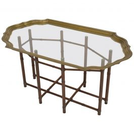 Hollywood Regency Faux Bamboo Coffee Table with Brass & Glass Top