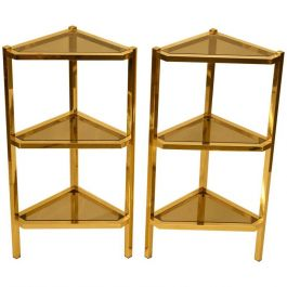 Pair of Triangular Brass Pedestals
