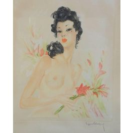 Eugène Leliepvre, French Lithograph Artist Signed Eugene Leliepvre Nude Contemporary of Domergue, c1920