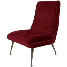 1950S G PLAN RED VELVET AND BRASS COCKTAIL CHAIR