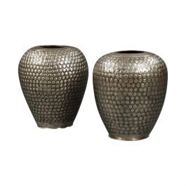 Pair of Mid 20th Century Repousse Brass Vases