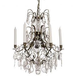 Baroque Crystal Chandelier: Dark Brass 6 arm with pendeloque crystals