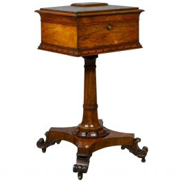 Antique Teapoy English William IV Rosewood Work Box, 19th Century, circa 1835