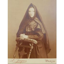 UnknownAntique Photograph of a Young French Nun Sepia toned by L Jacques Paris Sepiac1890