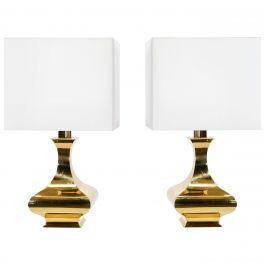 Pair of Maria Pergay Brass Table Lamps, 1970s