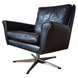 Midcentury Danish Leather Swivel Chair, 1960s