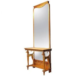 Egyptian Style Giltwood Mirror Console