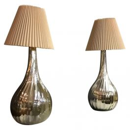 Mexico Midcentury Pair of Teardrop Twisted Mercury Table Lamps