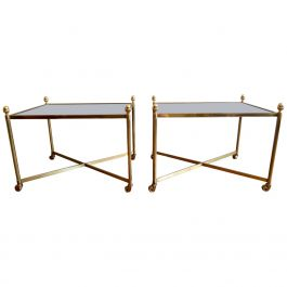 Pair of 1950s French Brass Side Tables