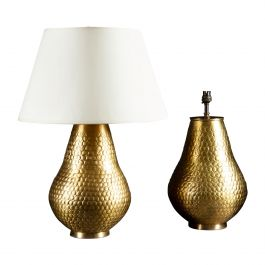 Pair of Brass Punched Metal Vases as Table Lamps
