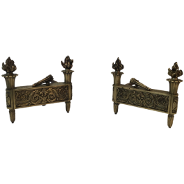 PAIR OF EMPIRE PERIOD BRONZE ANDIRONS. FRENCH