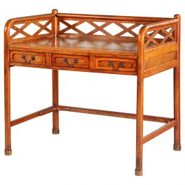19th Century Anglo Chinese Wooden Writing Table or Desk with Lattice Gallery