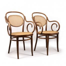 Pair of Bentwood Cane Chairs