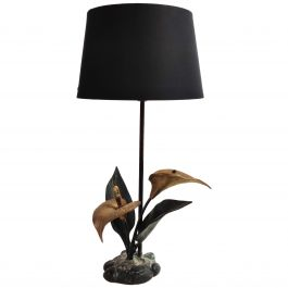 Vintage Brass Lily Flower Table Lamp, 1970s