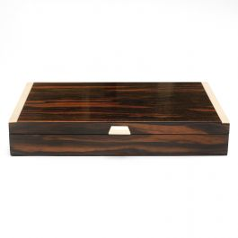 Art Deco Ebony Macassar Cigar Box