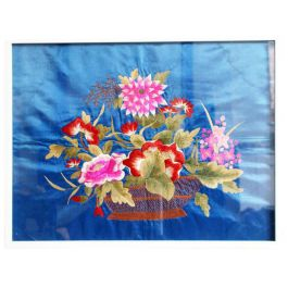 A 1950's Bright Blue Chinese Embroidery With Three Dimensional Flower Basket