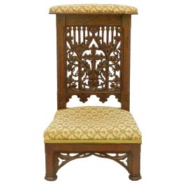 Gothic Revival Prie Dieu Side Chair Hand Carved Oak French Church 19th Century