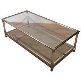 LUCITE AND CHROME 2 TIERS COFFEE TABLE