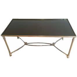 SILVERED COFFEE TABLE WITH BLACK LACQUERED GLASS