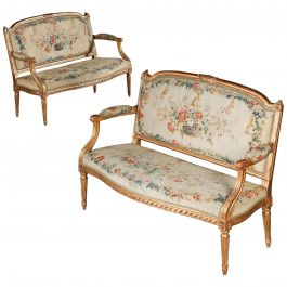 Pair of Giltwood Canapes, Louis XVI, 18th Century, Stamped Pierre Laroque