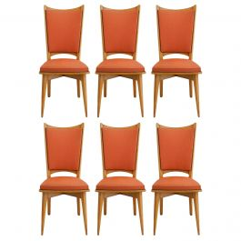 Six Midcentury French Dining Chairs Art Deco all Original in Good Condition