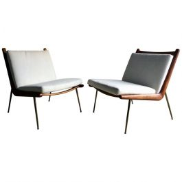 Pair of 1950s Boomerang Chairs by Peter Hvidt and Orla Mølgaard Nielsen for France & Son