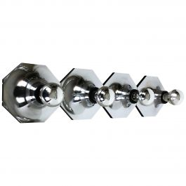 Set of Four silver Cubic Wall Lights by Motoko Ishii for Staff Lights, 1970