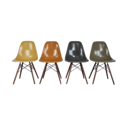 Eames Herman Miller Dsw Side Chairs In Ochres And Greys