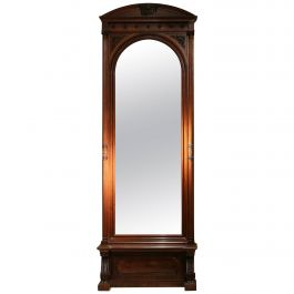 19th Century English Greek Revival Hand-Carved Rosewood Full Length Floor Mirror
