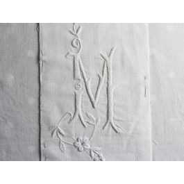 M Medium Bolster Cushion - Antique French M Monogram on Linen PMB24