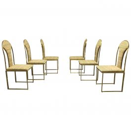 Vintage Brass Dining Chairs by Belgo Chrom, 1970s, Set of Six