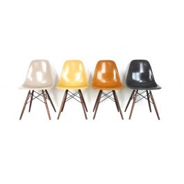 Eames Herman Miller Dsw Side Chairs In Ochres And Light Greige