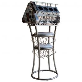 Wine Rack Twenty Bottles V8 Engine Block Steampunk Chromed Unique