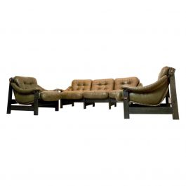 Brazilian Oak & Olive Green Leather 3-Piece Seating Group, Jean Gillon