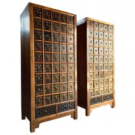 Pair of Apothecary Chests Medicine Cabinets Elm Haberdashery Qing Dynasty, 1871