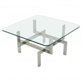 Brushed Steel Paul Legeard Square Coffee Table, 1970s