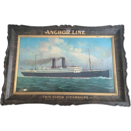 Rare Large Steel Painted Tray Showing A Liner