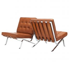 Early Pair of Cognac Leather RH301 Lounge Chairs by Robert Haussmann