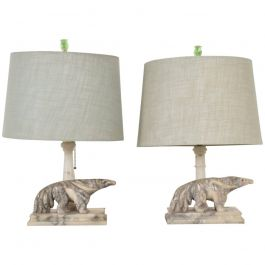 Art Deco Period Pair of Italian Alabaster Table Lamps, Anteater Sculptures