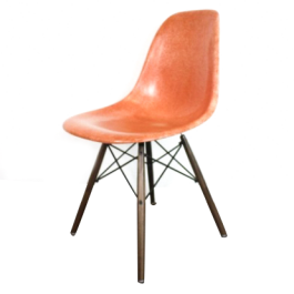 Eames Herman Miller Dsw Side Chair In Coral Orange