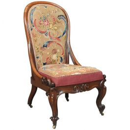 Antique Nursing Chair, English Walnut, Needlepoint Tapestry Victorian Circa 1840