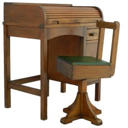 Art Deco Childs Rolltop Desk and Revolving Chair, circa 1930