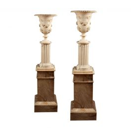 Pair of Illuminating Classical Alabaster Columns and Vases