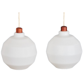Set of two pendants in opaline glass with top in teak, Danish design, 1960