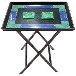 Christian Dior Faux Malachite Folding Tray Table, 1970s