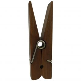 1960s Oversized Walnut Wooden Clothespin