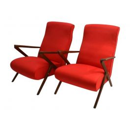 Italian Airline-Style Mahogany Lounge Chairs