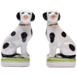 A Pair of 1950s Painted Mantle Dog Ornaments