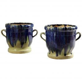 Pair of French Apt Pottery Jardinieres or Planters with Drip Glaze